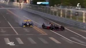 Accidente entre Heidfeld  y Prost en la primera carrera de Fórmula E