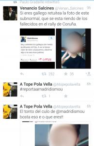 Supuesta identificación del usuario de Twitter que se mofaba del accidente de A Coruña